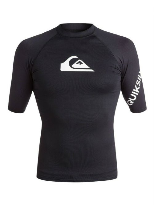 QUIKSILVER MENS RASH VEST.ALL TIME UPF50+ SURF RASHGUARD BLACK TOP T SHIRT 9S 36